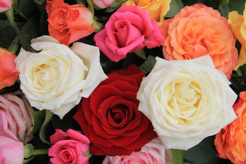 Rose bouquet in bright colors