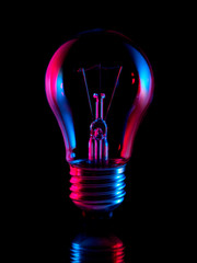 Bulb light in red and blue abstraction
