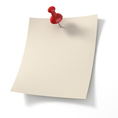note pad pinned on white background