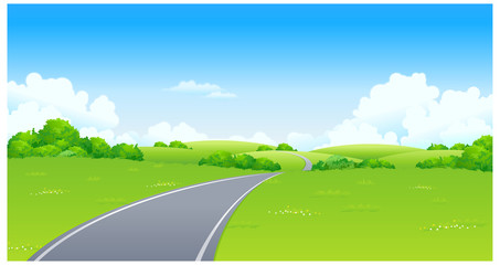 Curved Road over green landscape