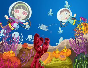 Printed roller blinds Submarine Children diving