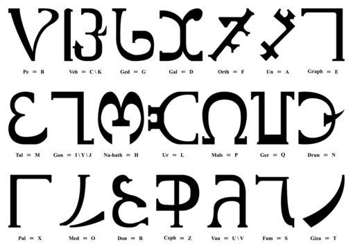 Alphabet enochien (Majuscules)