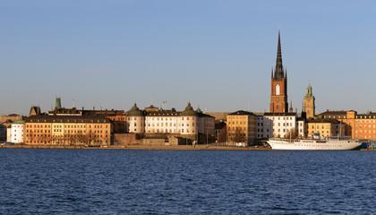 Panorama of the island Riddarholmen in Stockholm, Sweden.