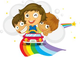 Poster Regenboog Kids driving