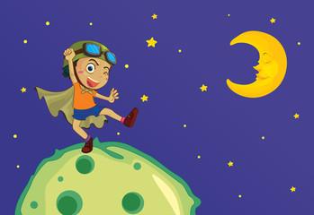 Boy on the moon