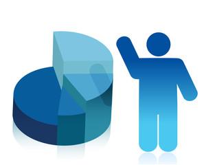 pie chart and icon presentation illustration design over white