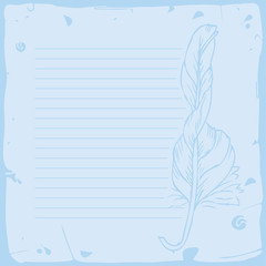 lined paper- blue with feather