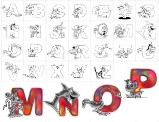 abc alphabet background zoo design mnop
