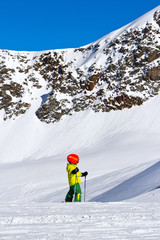 little skier on a glacier in the Alps