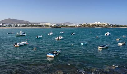 Costa Teguise boats bay on Lanzarote island