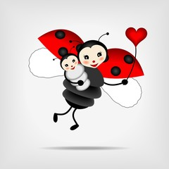 Poster Lieveheersbeestjes mother ladybug with baby