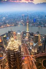 Aluminium Prints Shanghai beautiful shanghai in the evening