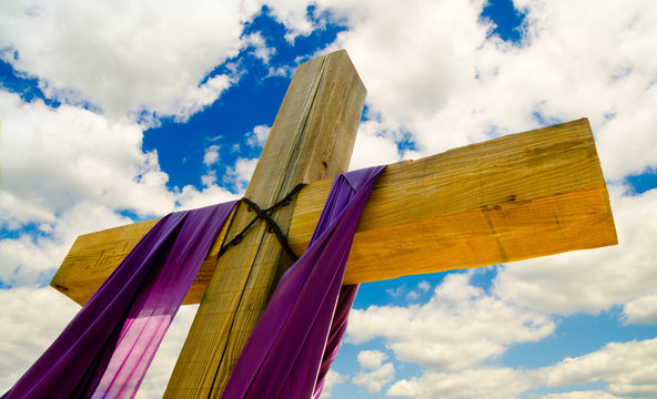 Cross with purple drape or sash for Easter