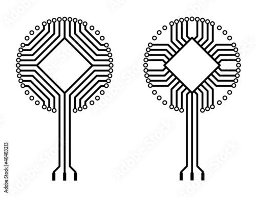vector circuit board logo tree shapes\