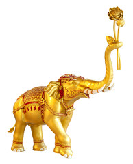 Ancient goldent elephant statue