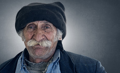 old traditional lebanese man with amazing expression