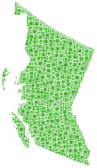 Map of British Columbia (Canada) in a mosaic of green squares