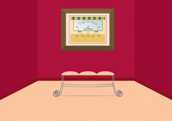 A vector image of a wrought iron bench at the art gallery.
