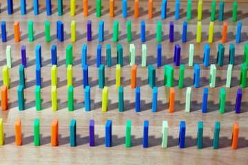 Rows of plastic colored knuckles that stands vertically