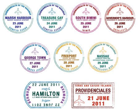 Passport stamps of the Lucayan Islands.