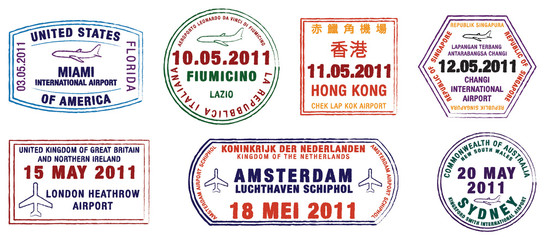 A collection of world airport stamps in vector format.