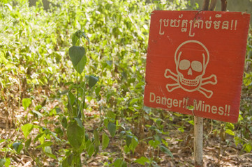 Sign warning of Landmines, Cambodia