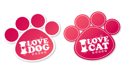 Paw print stickers with text I love dog and I love cat