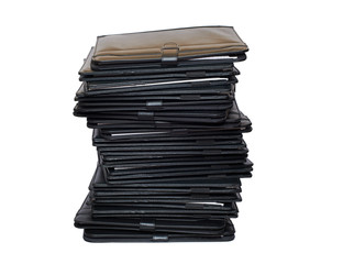 Pile of black folders