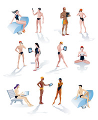 Twelve Swimmers With Technology