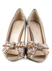 A pair of female leopard shoes