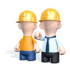 Ein Bauarbeiter mit einem Architekt - Besprechung