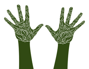 Eco hands made from leaf shapes.