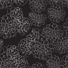 White floral seamless pattern on black