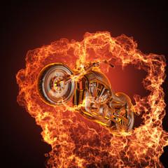 La pose en embrasure Motocyclette chopper bike in fire