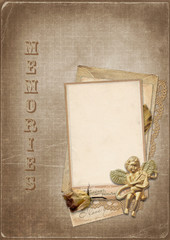 Vintage background with photo and angel