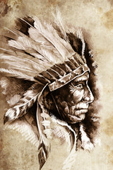 Wall Mural - Indian Head Chief Illustration. Sketch of tattoo art, over vinta