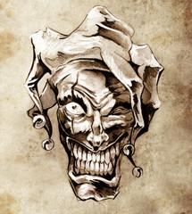 Wall Mural - Fantasy clown joker. Sketch of tattoo art over dirty background