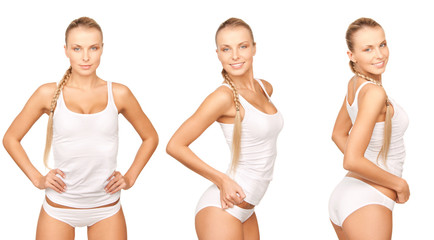 woman in cotton undrewear in 3 different poses