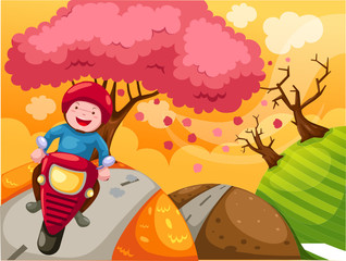 Photo sur Plexiglas Motocyclette landscape cartoon boy riding motorcycle
