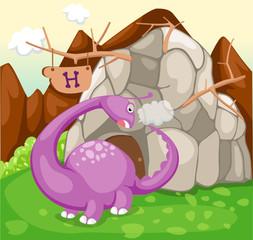 Photo sur Plexiglas Dinosaurs dinosaur in rock cave in forest