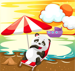 landscape panda relaxing on the beach