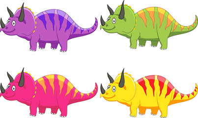 Photo sur cadre textile Dinosaurs Triceratops cartoon