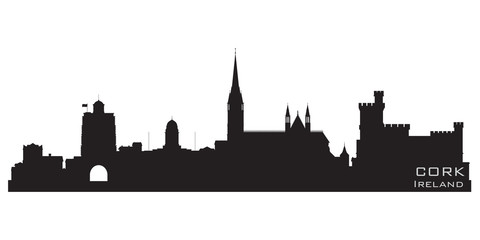 Cork, Ireland skyline. Detailed vector silhouette