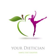 Logo diet, dietician. Dancer and green apple # Vector