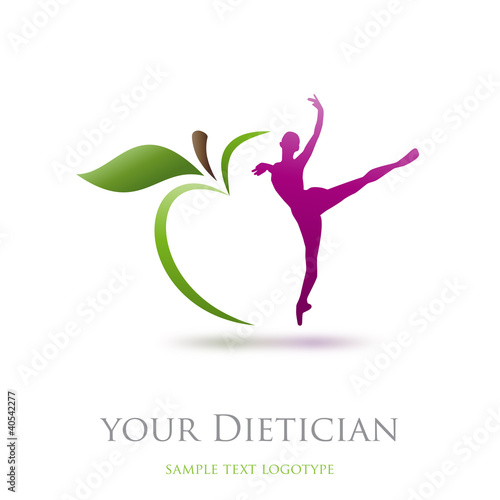 Logo diet, dietician. Dancer and green apple # Vectoru0026quot; Stock image ... : pricing for logo design : Top Logo Design