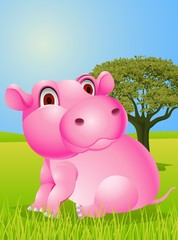 Funny pink hippo cartoon