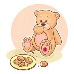 Teddy Beareating cookies
