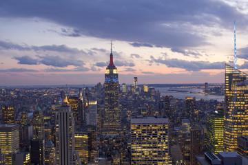 Fototapete - Sunset over New York City