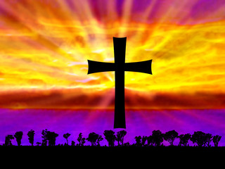 Abstract Fantasy Sunset with Cross