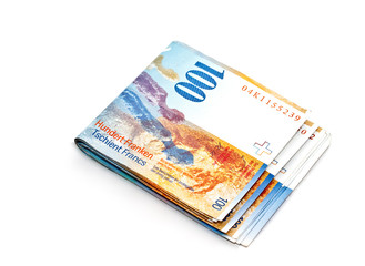 Swiss Franc banknote on white background